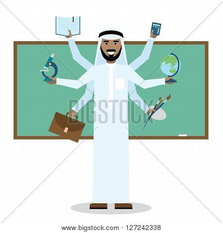 Multitasking arabian man with six hands. in school.