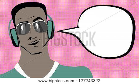 Pop art brunette swarthy man in headphones with speech bubble.