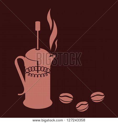 Vector illustration of french press, brown colors drawing in a flat style icon home device for making beverage coffee and tea. Design simple style coffee theme.