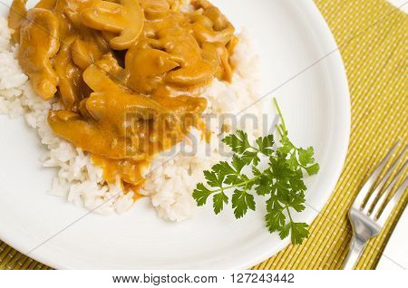 Zurich ragout with rice on a white plate