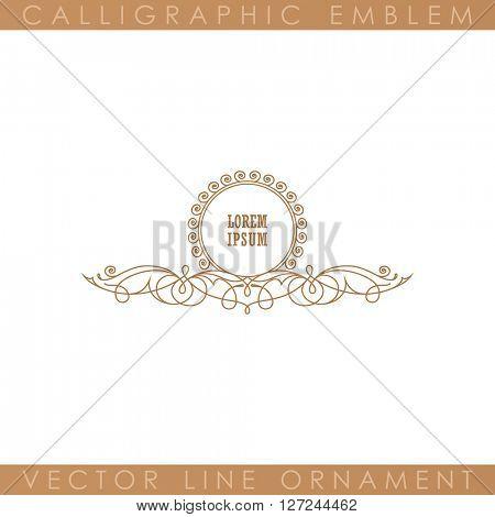 Calligraphic Luxury line logo template. Flourishes calligraphic elegant emblem. Royal logo design. Gold logo decor for menu card invitation label, Restaurant, Cafe, Hotel. Vintage vector line symbol