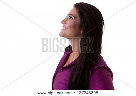 Brunette Brazilian woman on white background