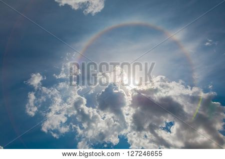 Fantastic Halo rainbow in the sky. beautyfull background