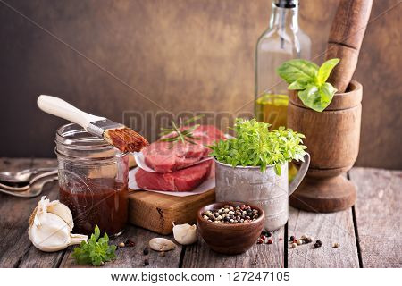 Herbs, spices and sauces for meat grilling