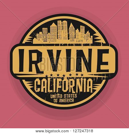 Stamp or label with name of Irvine, California, vector illustration
