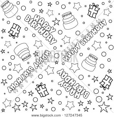 Vector illustration pattern of outline Happy Birthday text cake presents and stars.
