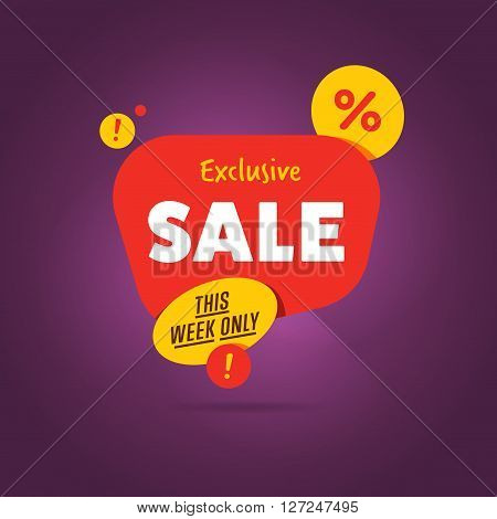 Sale vector banner. Promo offer. Sale sticker. Discount sticker. Special offer sale sticker in flat style. Discount tag. Special offer banner. Sale sign. Web sticker. Sale label. Advertisement sticker. Sale sticker template. Design of ad offer. Sale tag.