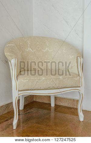 Luxurious white antique chair. retro style decoration