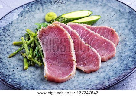 Tuna Tataki with Green Baby Asparagus