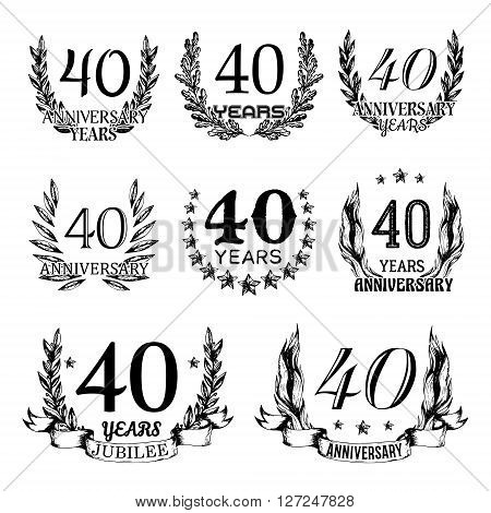 40th anniversary emblems set. Collection of hand drawn anniversary signs with wreath. Celebration badges in sketch style.