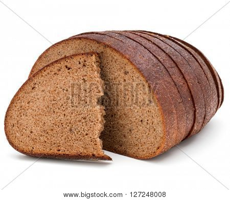 Fresh sliced rye bread loaf isolated on white background cutout