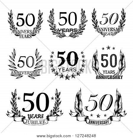 50th anniversary emblems set. Collection of hand drawn anniversary signs with wreath. Celebration badges in sketch style.