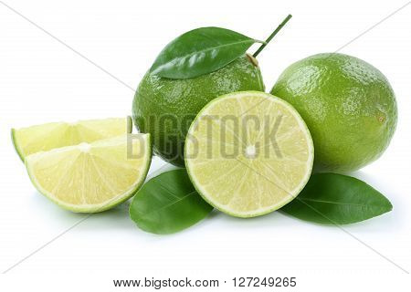Lime Limes Slice Organic Fruits Isolated On White