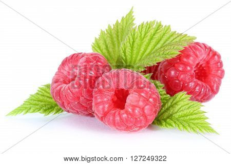 Raspberry Fresh Raspberries Berry Berries Fruit With Leaves Isolated On White