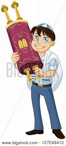 Vector illustration of a Jewish boy with talit holds the Torah for Bar Mitzvah.