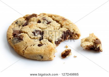 Single Light Chocolate Chip Cookie, Bite Missing With Crumbs, Isolated.