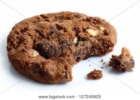 Single Dark Chocolate Chip Cookie, Bite Missing With Crumbs, Isolated.
