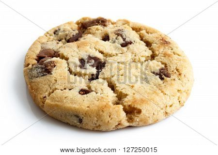 Single Light Chocolate Chip Cookie Isolated On White.
