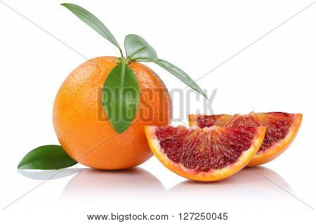Blood Orange Fruit Slice Slices With Leaves Isolated On White