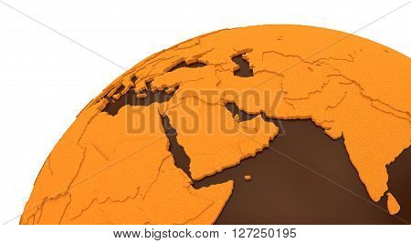 Middle East On Chocolate Earth