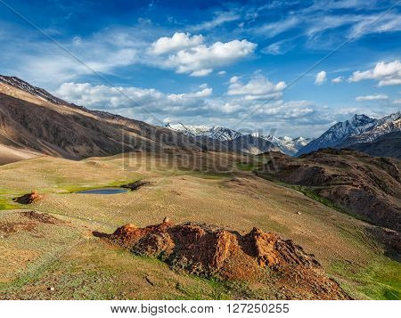 Himalayan landscape in Spiti valley. Himachal Pradesh, India