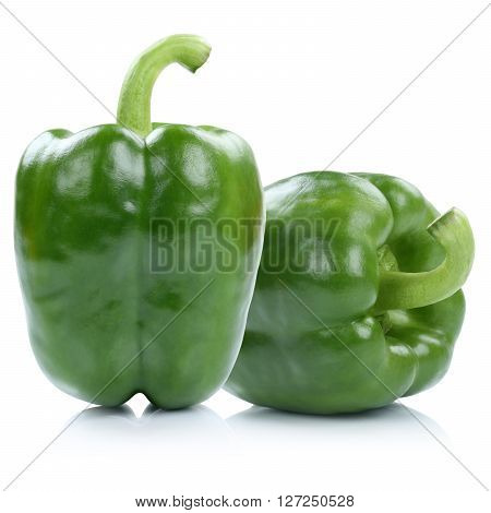Bell Pepper Peppers Paprika Paprikas Green Isolated On White