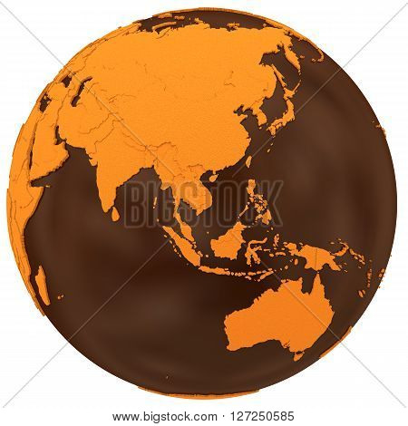 Asia On Chocolate Earth