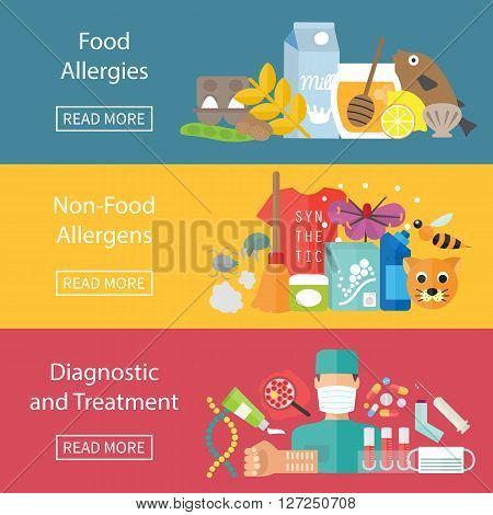 Allergies banner set with allergens diagnostics and allergy treatment. Vector illustration