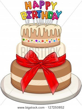 Vector illustration of 3 floors birthday cake with Happy Birthday text on top.