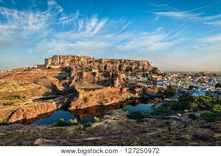 Famouse Rajasthan indian tourist landmark - Mehrangarh Fort, Jodhpur, Rajasthan, India