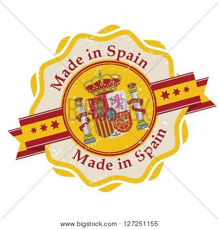Made in Spain grunge printable label. Grunge label - Made in Spain, with Spanish flag colors. CMYK colors used.