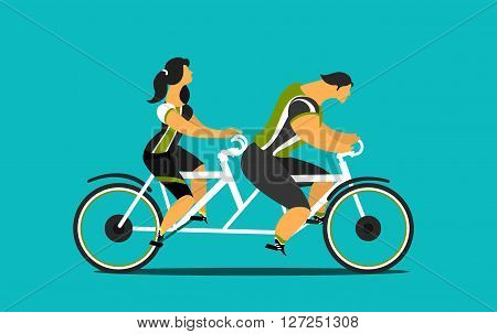 Vector illustration of young people man and woman riding on a tandem bike