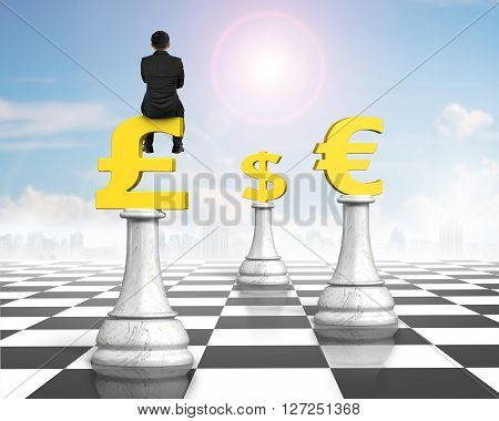 Man Sitting On Pound Symbol Of Money Chess On Chessboard