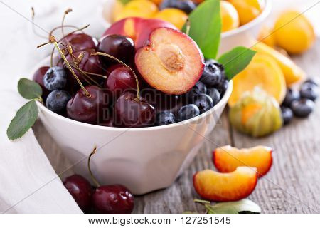 Summer fruits in a bowl with nectarines, apricots and cherry