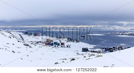 Tremendously growing arctic capital Nuuk city Greenland