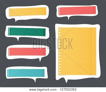 Pieces of cut colorful lined notebook paper on white speech bubbles.
