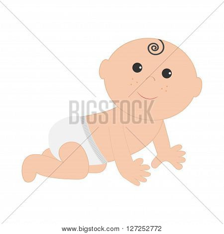 Cute baby boy girl crawling in diaper. Isolated. White background. Baby shower. Cartoon character. Flat design. Vector illustration