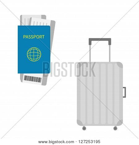 Passport air boarding pass ticket with barcode. Suitcase icon. Travel baggage. Luggage handbag. Summer vacation planning consept. Travelling tourism. Passenger case. Flat Isolated. White Vector