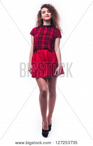 Full Length Portrait Of A Woman Isolated On White Background