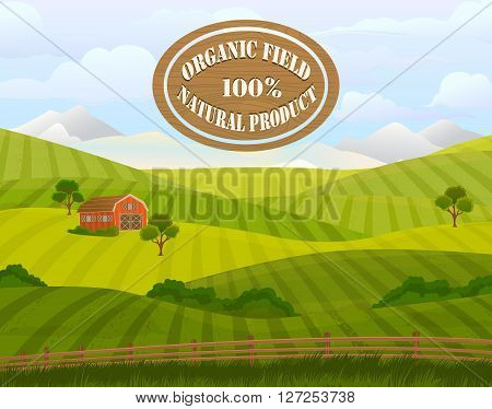 Meadow landscape. Green grass. Countryside. Rural area. Fields. Village background. Farming life. Vector illustration in cartoon style.