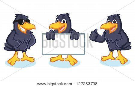 Crow Mascot vector happy pose and bring board