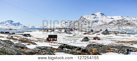 Qoornoq former fishermen village nowdays summer residence in the middle of Nuuk fjord Greenland