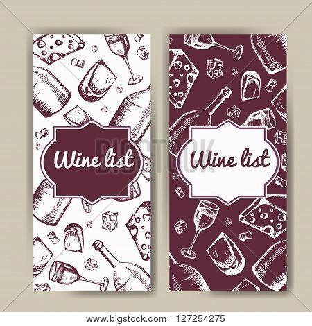 Design for wine list. Restaurant template for invitation menu banner or etc. Wine concept design. Vector illustration