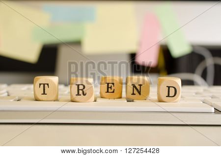 Business concept image with the wor trend of a keyboard