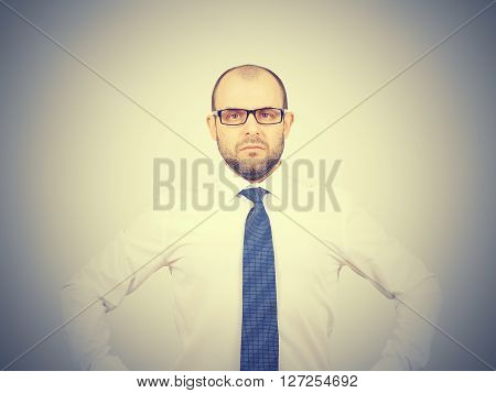 Businessman In Glasses And Shirt With Tie.
