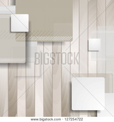 Abstract brown squares on wooden background. Vector tech geometric graphic design
