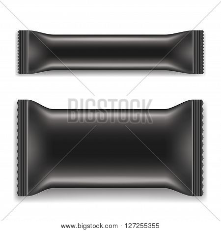 Two Black Blank Foil Packaging isolated on a white background