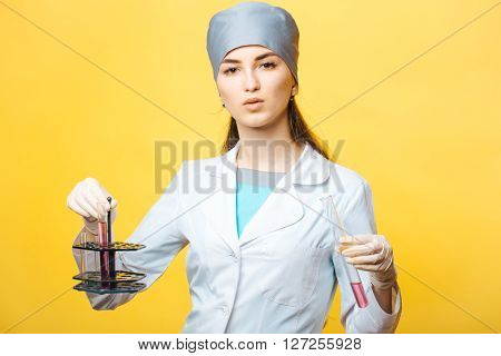 Woman With Medical Flasks