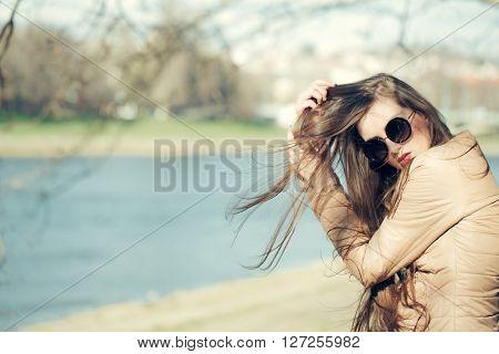 Stylish Girl Sunny Day Outdoor