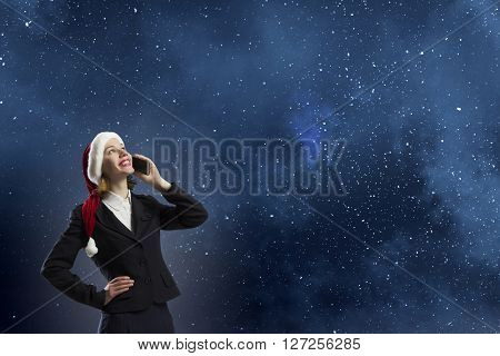 Santa woman with mobile phone